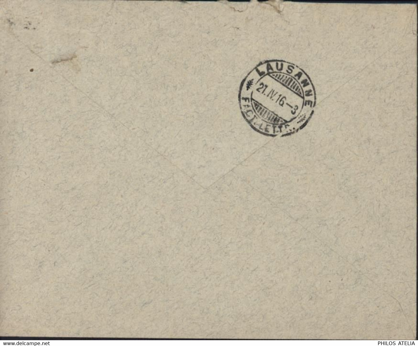 Guerre 14 Cachet Internement Prisonniers De Guerre En Suisse + L'officier Sanitaire Dirigeant Région Montreux 21 IV 16 - Postmarks