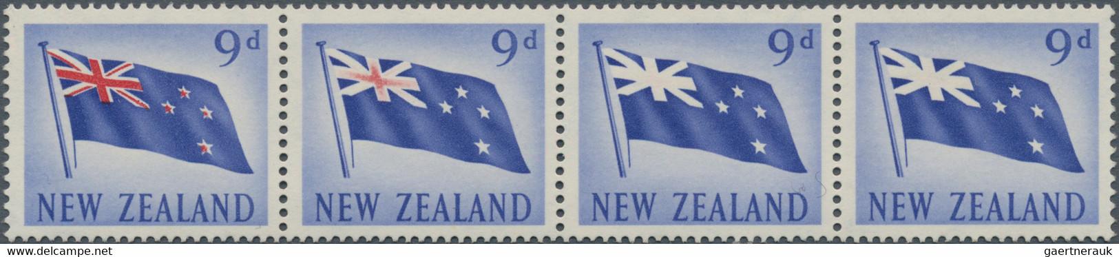 Neuseeland: 1960, 9 P. Nationalflagge Im Postfr. Waager. 4er-Streifen Mit Von Links Nach Rechts Abne - Ongebruikt
