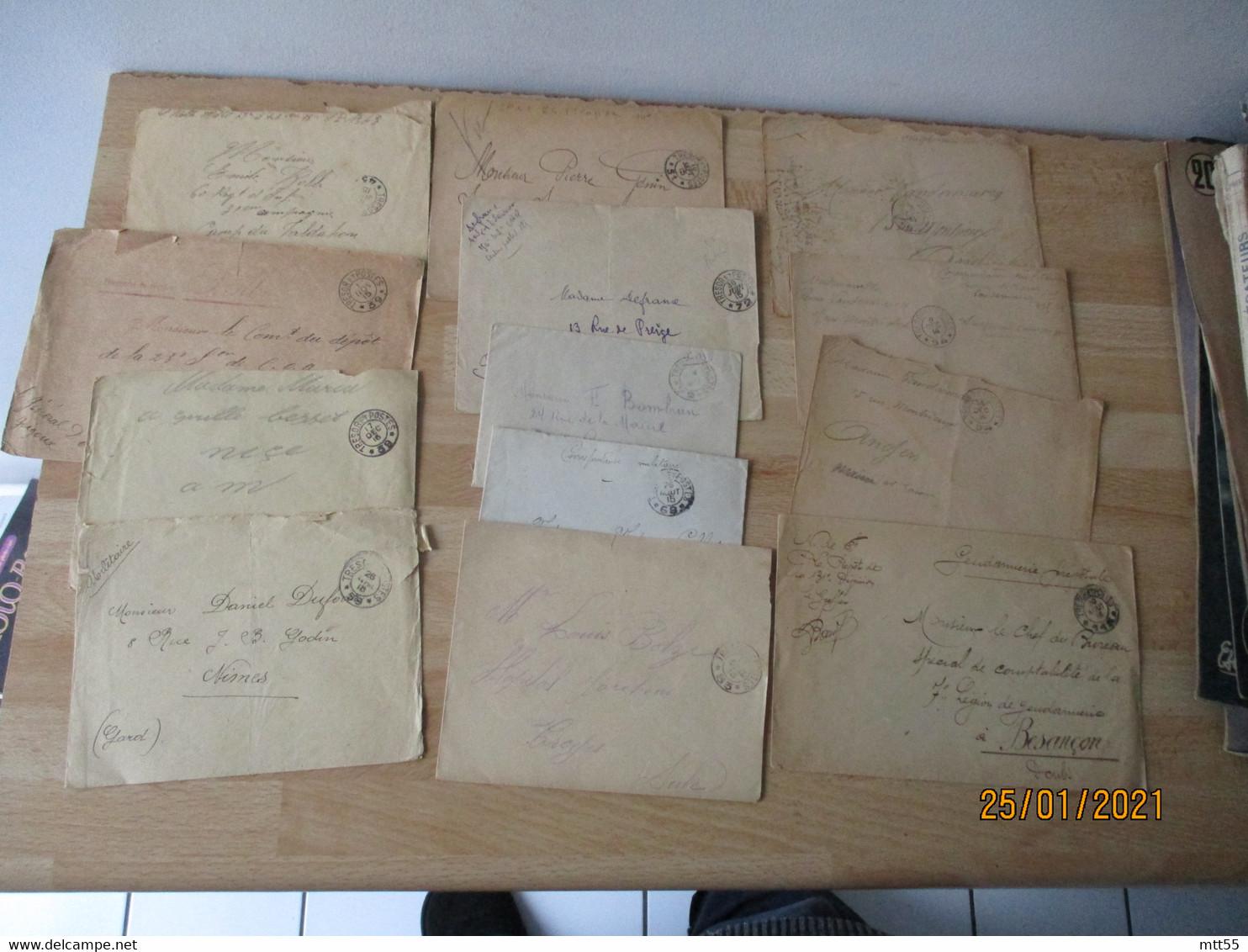 Lot 14 Lettres Tresor Et Postes 2 Cercles 2 Etoiles Guerre 14.18 - Guerra De 1914-18