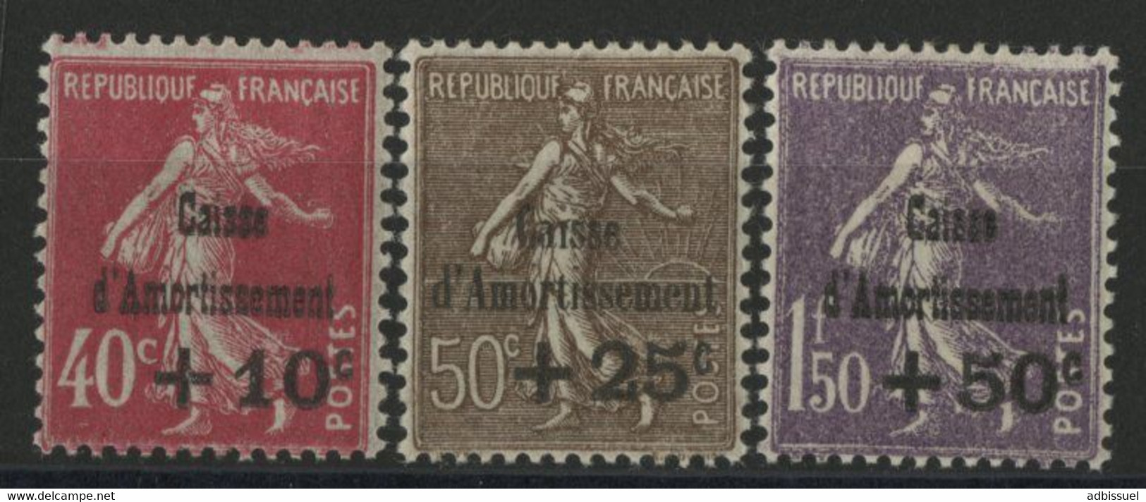 N°266 à 268 CAISSE D'AMORTISSEMENT Troisième Série Neufs * (MH) Cote 150 € TB Vendus à 10 % De La Cote. - Unclassified