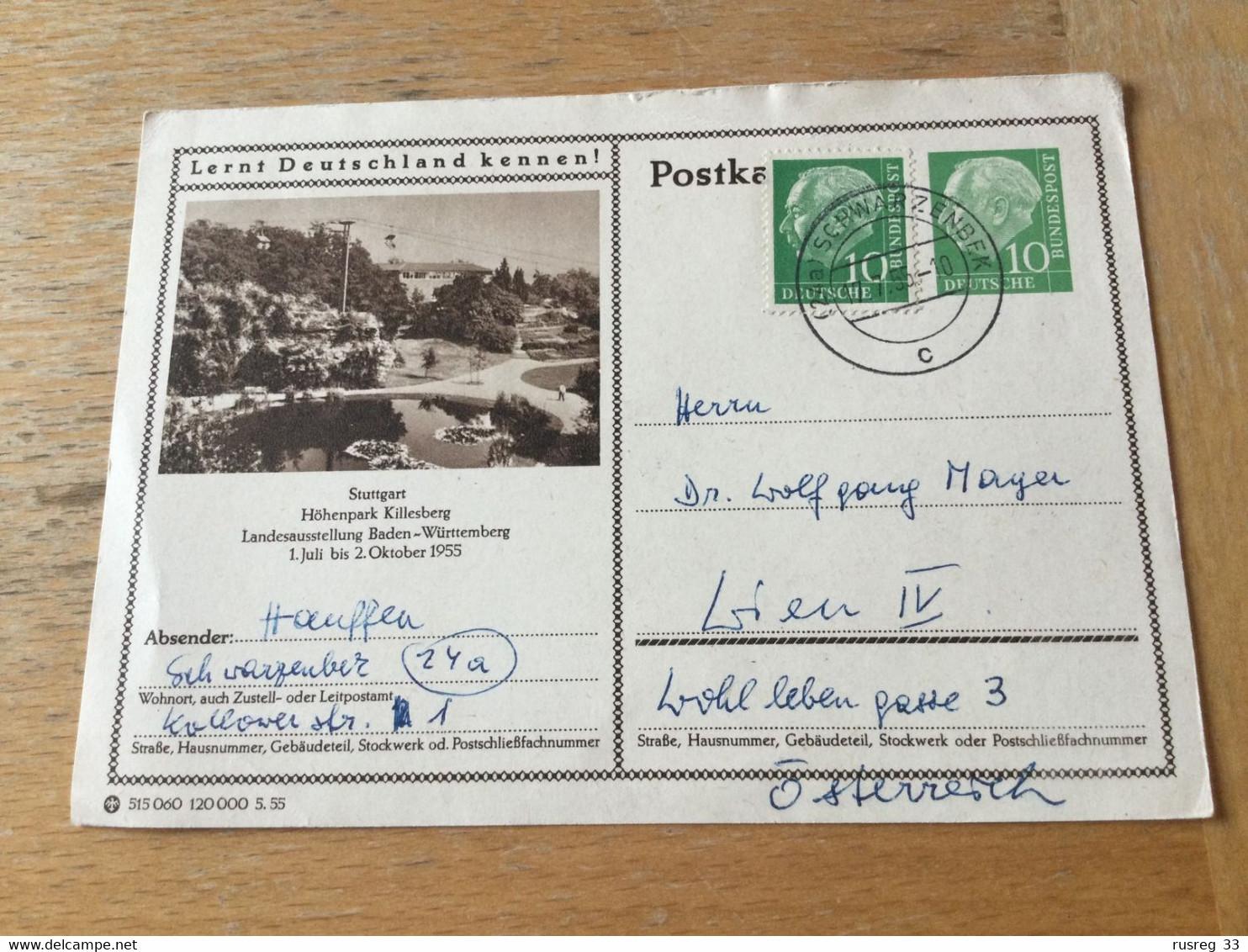 K15 BRD Ganzsache Stationery Entier Postal P 24 Stuttgart - Illustrated Postcards - Used