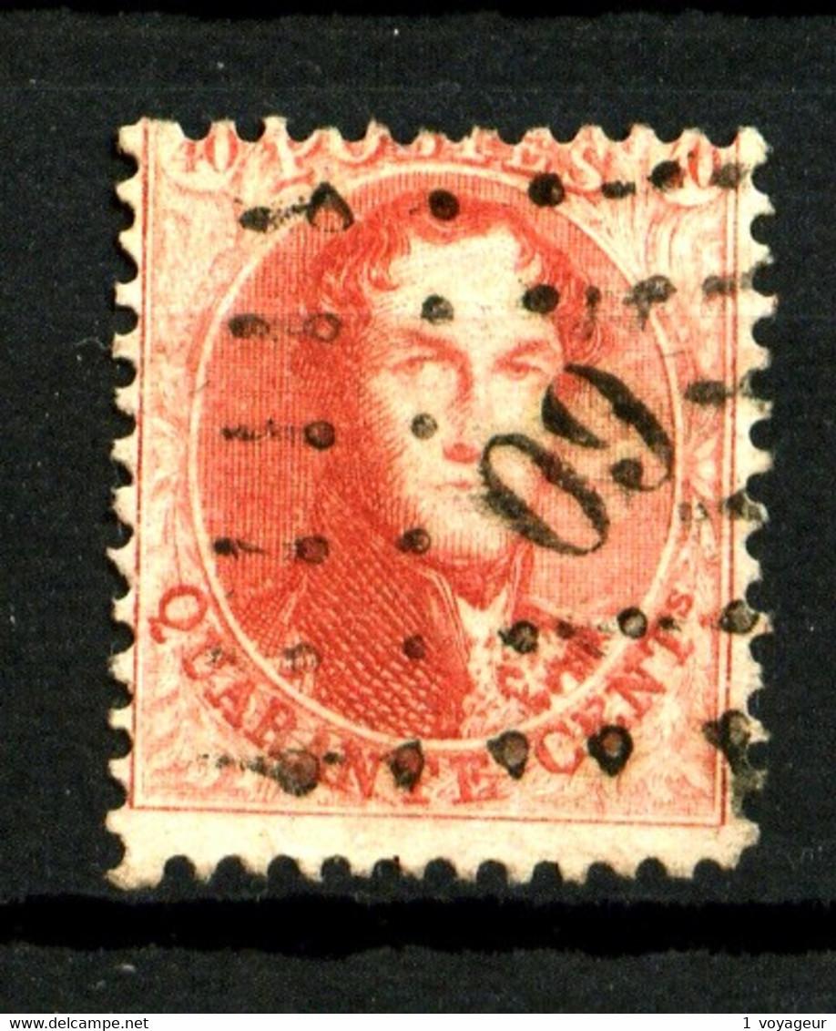 BELGIQUE - YT 16A - 40c Rouge Léopold 1er - Dentelé 12,5 X 12,5 - Oblitéré - Très Beau - 1863-1864 Medallones (13/16)