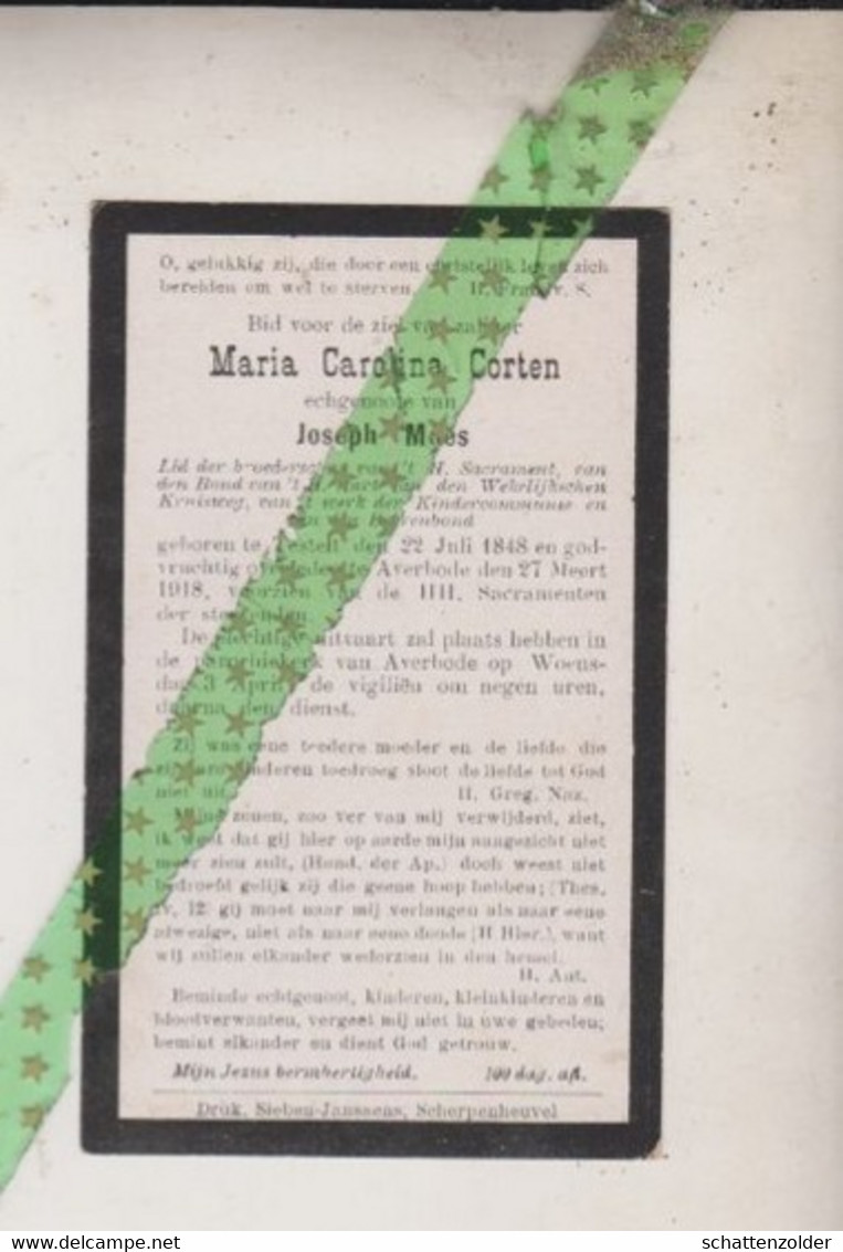 Maria Carolina Corten-Maes, Testelt 1848, Averbode 1918 - Décès