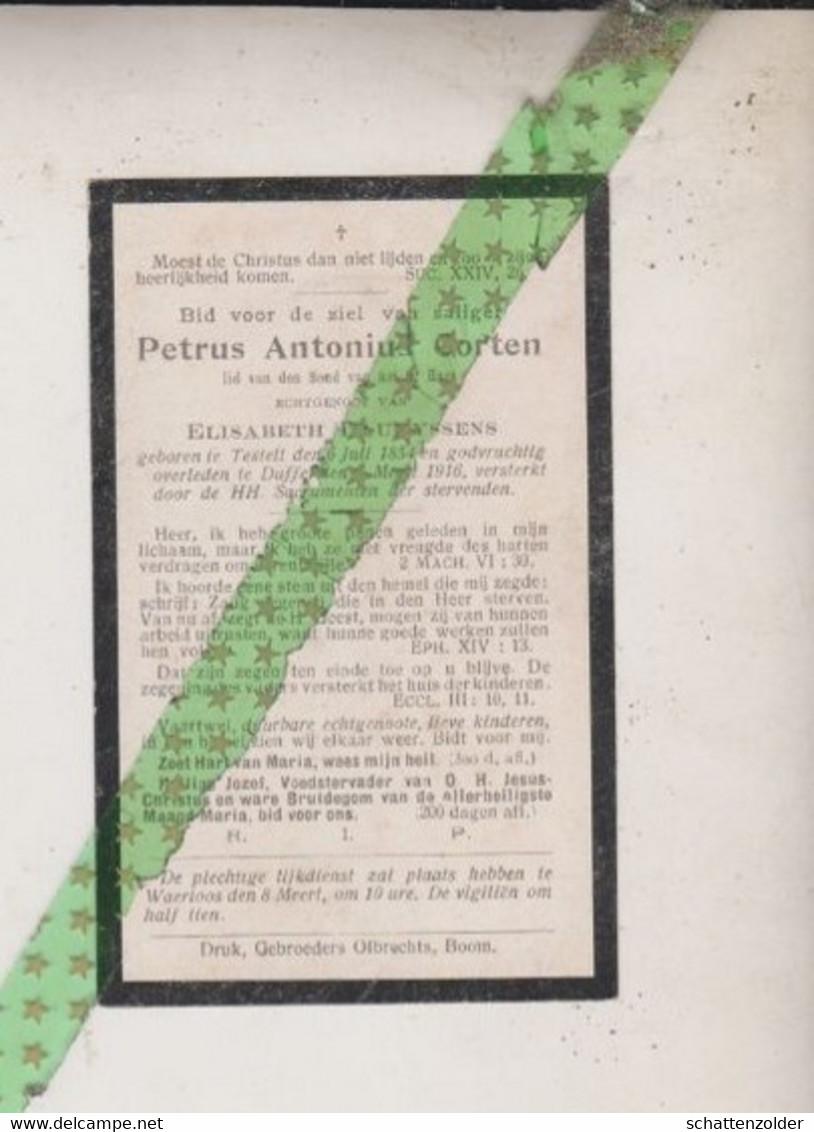 Petrus Antonius Corten-Lauryssens, Testelt 1854, Duffel 1916 - Todesanzeige