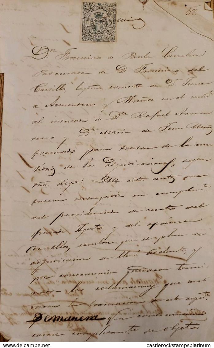 A) 1874, SPAIN, TRADE BOOKS, 50C. PECETA, STAMP - Cartas