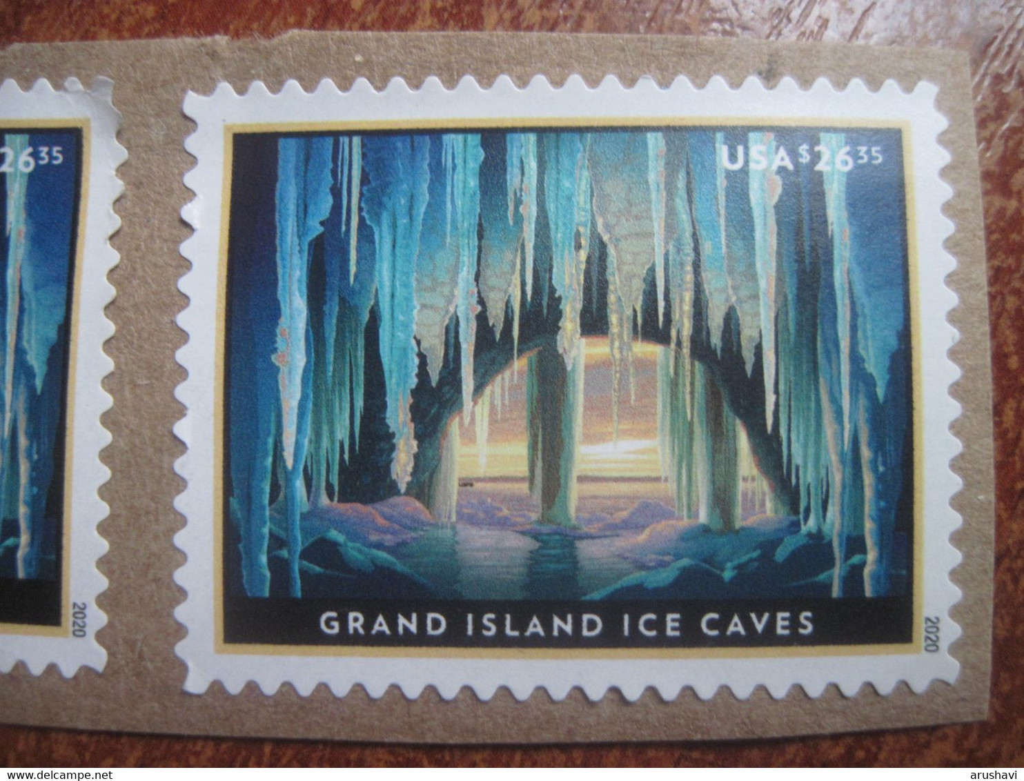USA 2020 Grand Island Ice Caves  High Value Stamps USED On Paper - Oblitérés