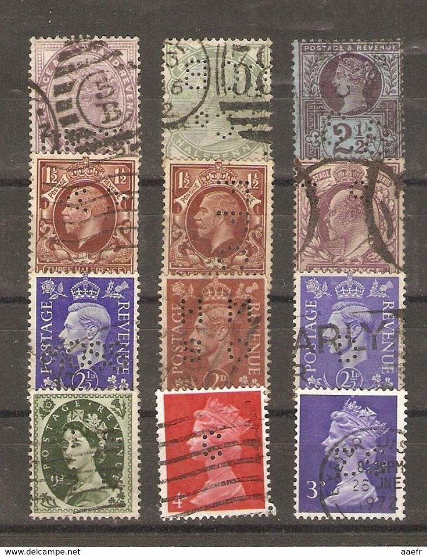 Grande-Bretagne - Perfins - Perforés - Petit Lot De 12° - Victoria - Edouard VII - Georges V - George VI - QEII - Kilowaar (max. 999 Zegels)