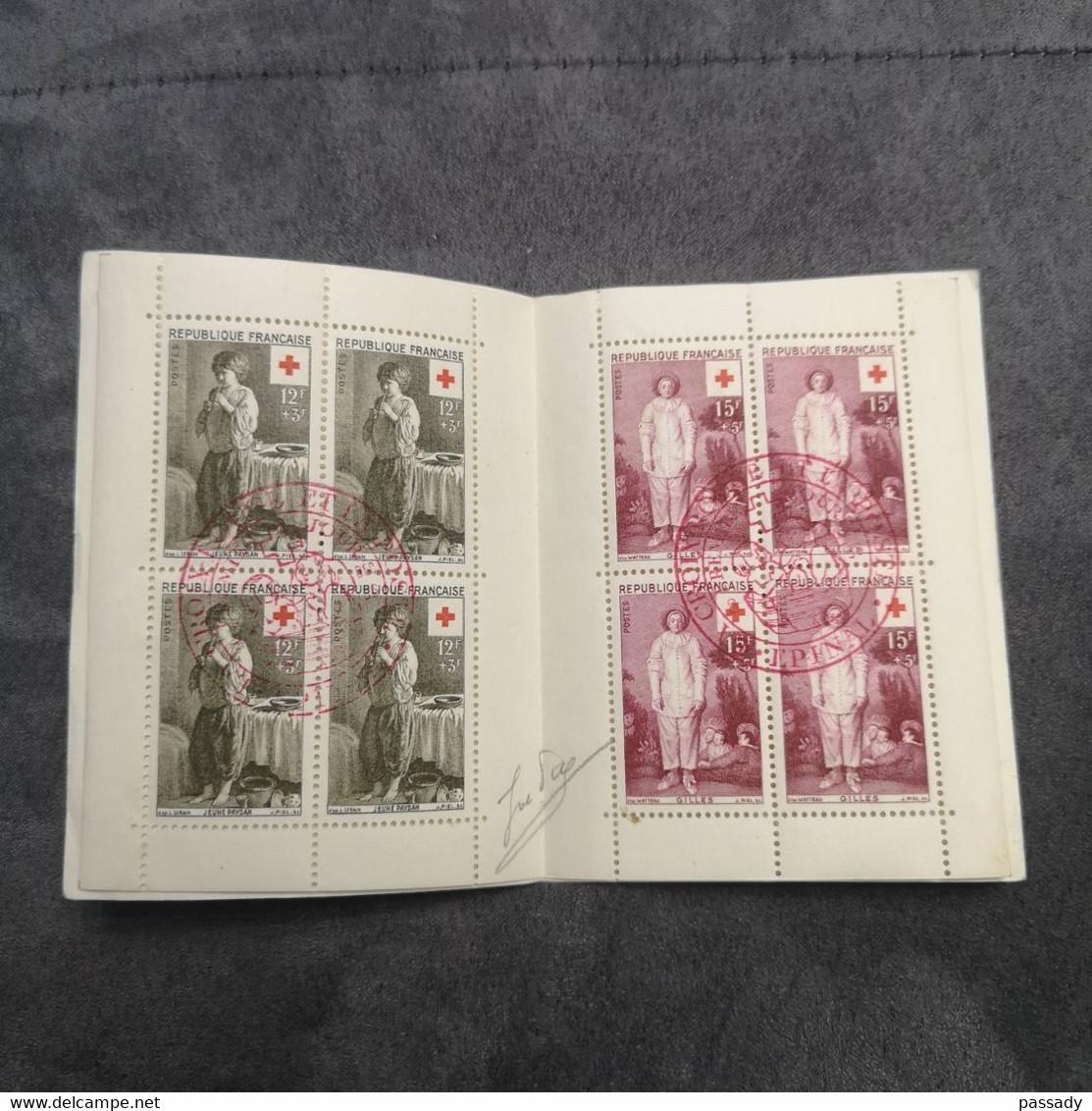 ⭐ Carnet CROIX-ROUGE 1956, Timbres Oblitérés 1er Jour 2 Tampons Signé Excellent État ⭐ Collection Timbre Poste - Red Cross
