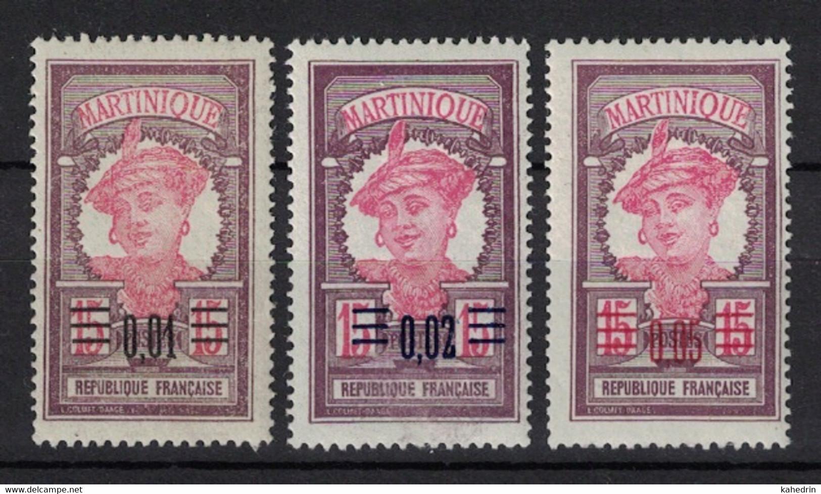 Martinique 1922, Lot Of 3 Stamps With Overprint **, MNH - Gebruikt