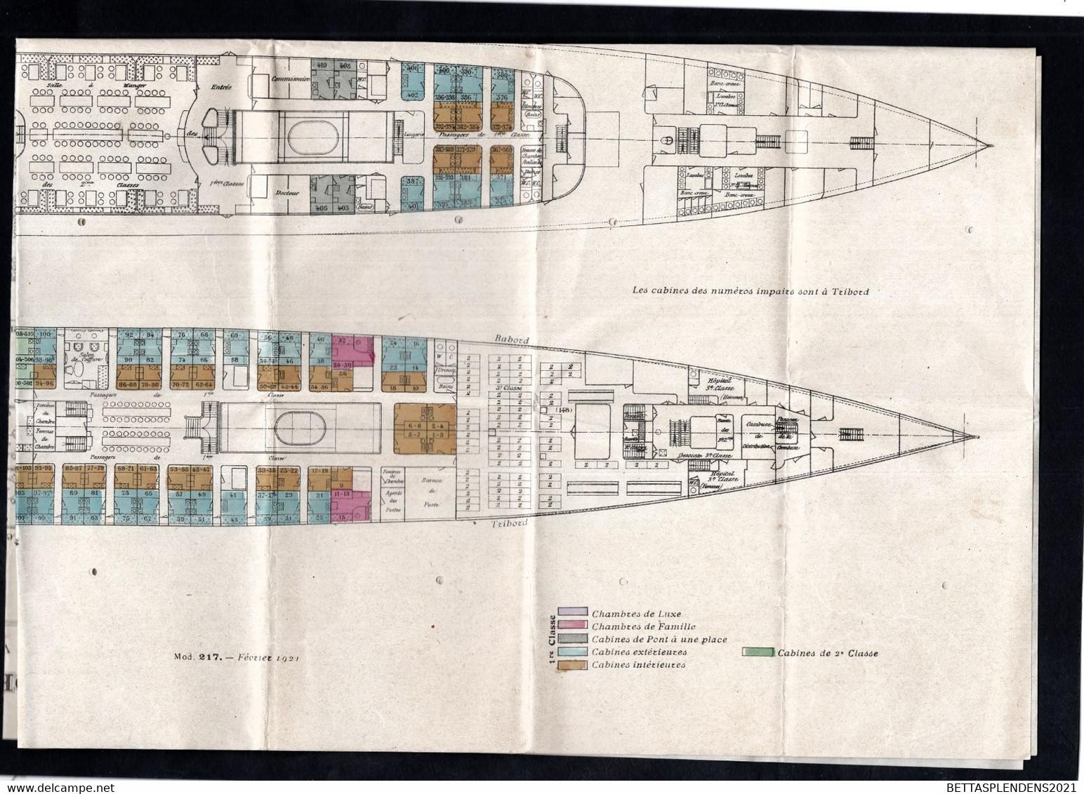 """Paquebot """" LA LORRAINE """" Paquebot à Grande Vitesse à 2 Hélices - PLAN Du Bateau - Compagnie Générale Transatlantique - Bateaux"""