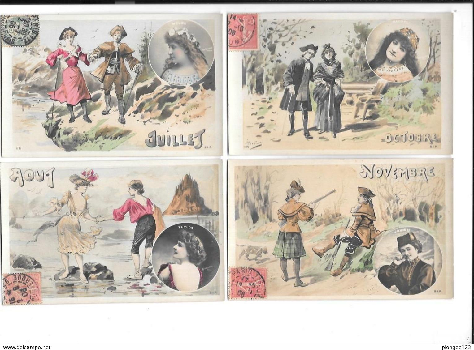 Lot De 9 CPA Illustrées Par HENRIOT : Les Mois De L'année, Dans Médaillon, Femmes Par REUTLINGER - Henriot