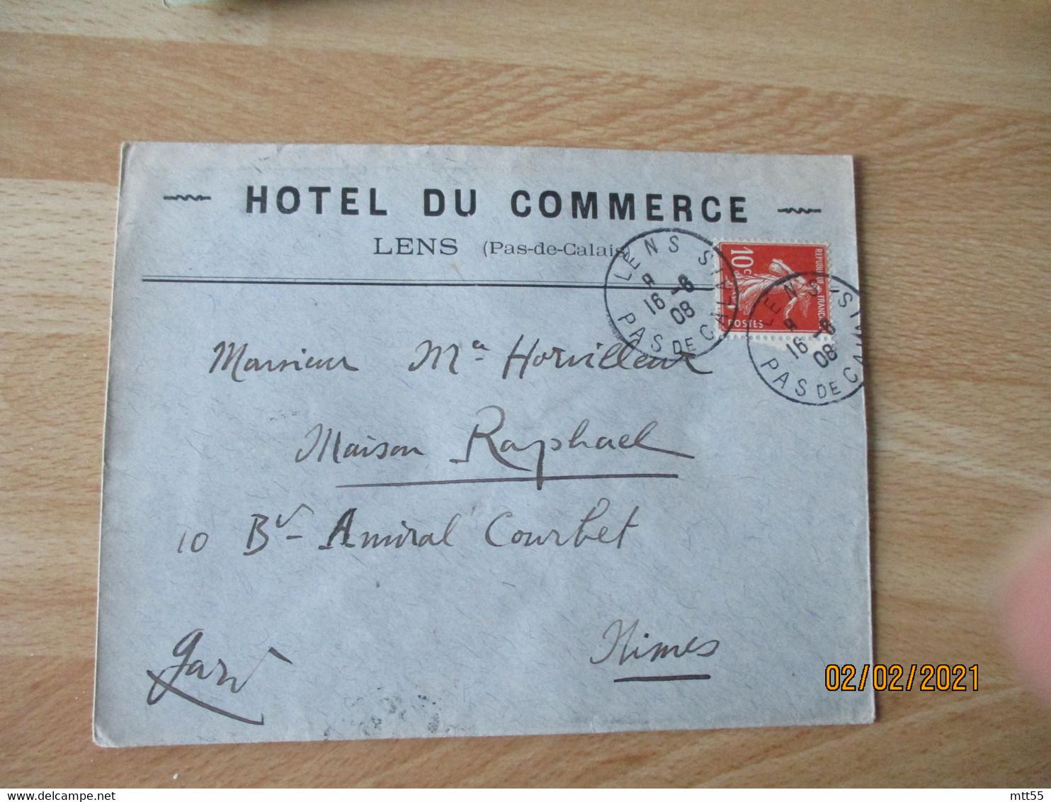 Hotel Du Commerce Lens  Enveloppe Commerciale - 1900 – 1949