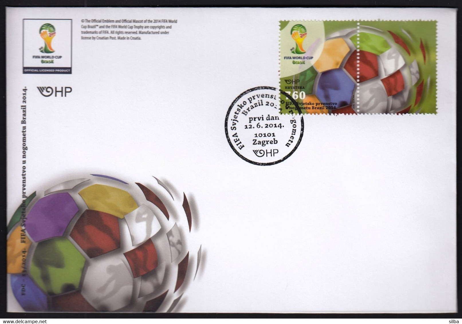 Croatia Zagreb 2014 / Football World Cup Brazil / Sport, Ball / FDC (stamp + Label, Vignette) - 2014 – Brasil