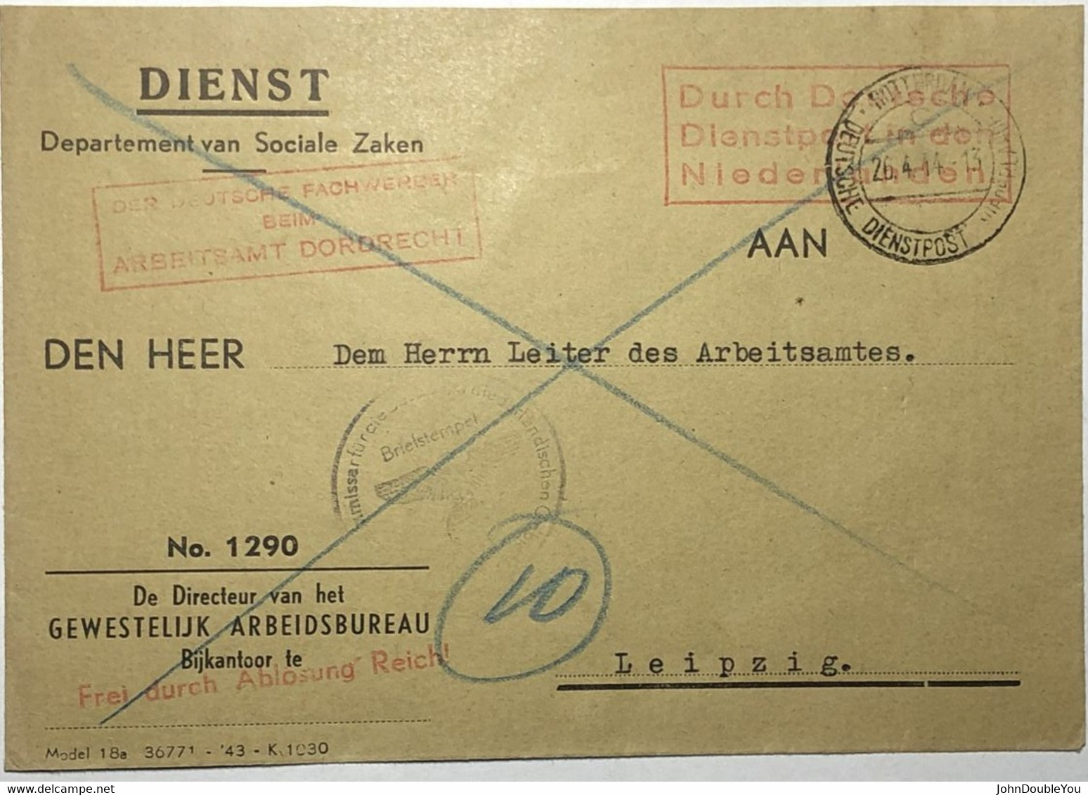 Dienstbrief Dordrecht - Leipzig 1944 - Storia Postale