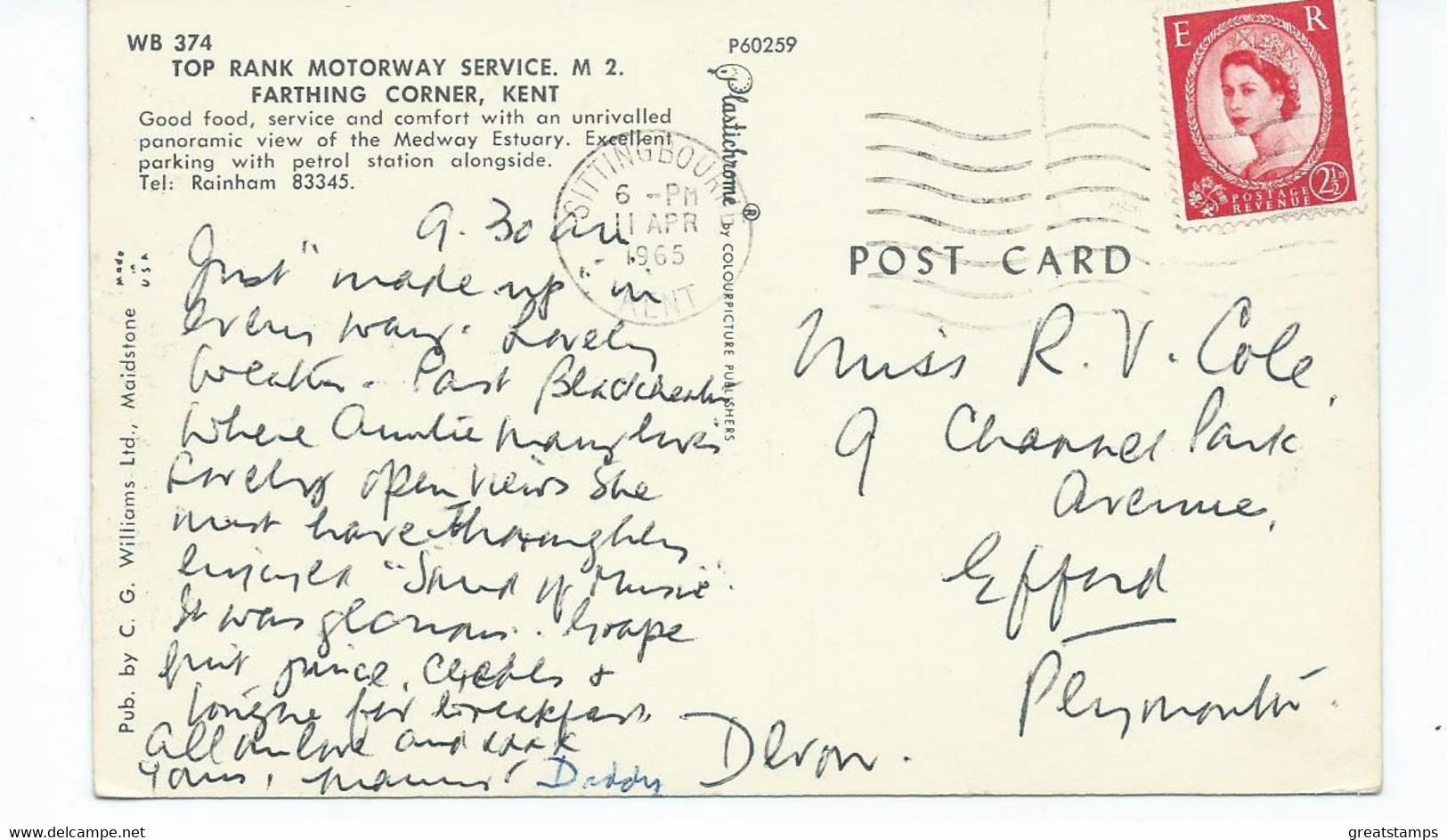 Kent   Postcard  Top Rank Motorway Services M2 Farthing Corner Kent. Posted 1965 - Otros