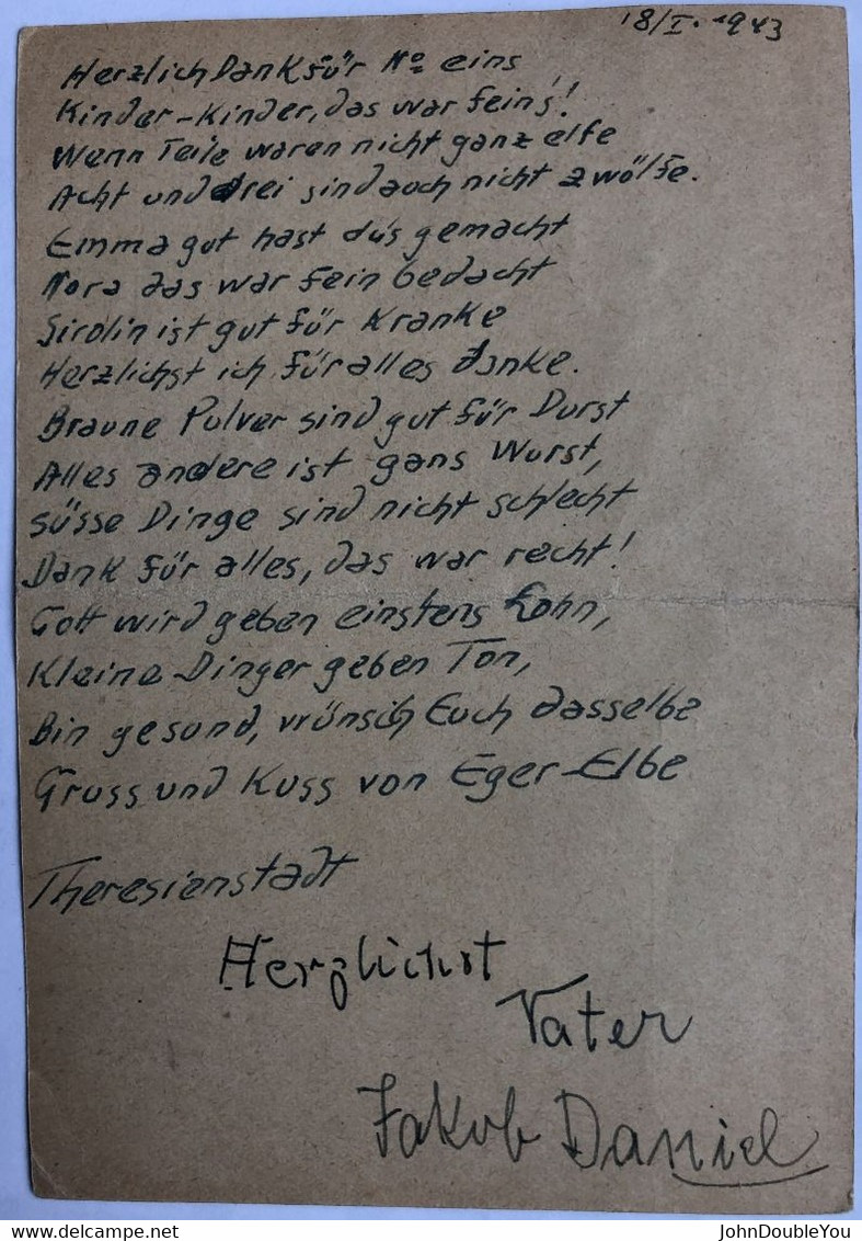 Portvrij Verzonden Briefkaart / Portofreie Postkarte / Postage Free Postcard   Theresienstadt 1943 - Storia Postale