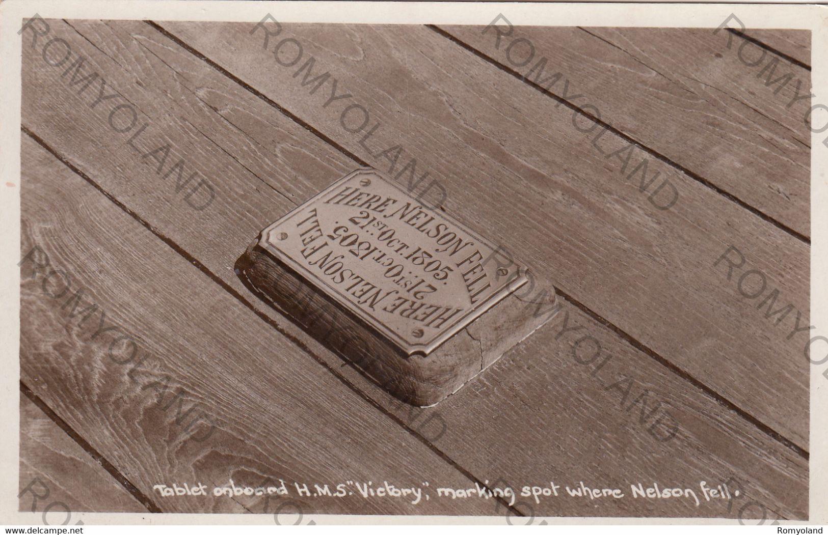 "CARTOLINA   TABLET ONBOARD H.M.S.""VICTORY"",MARKING SPOT WHERE NELSON FELL,NON VIAGGIATA - Wereld"