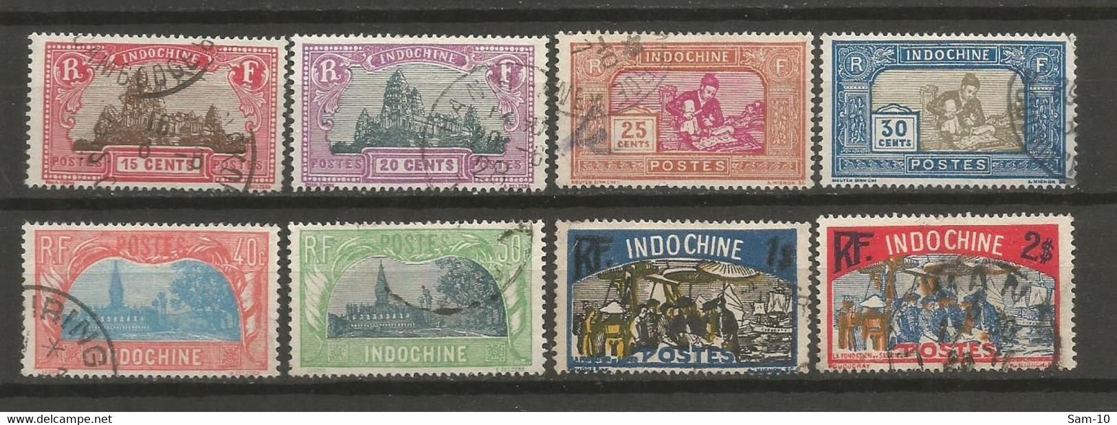 Timbre De Colonie Française Indochine Oblitéré N 139 / 146 - Usati