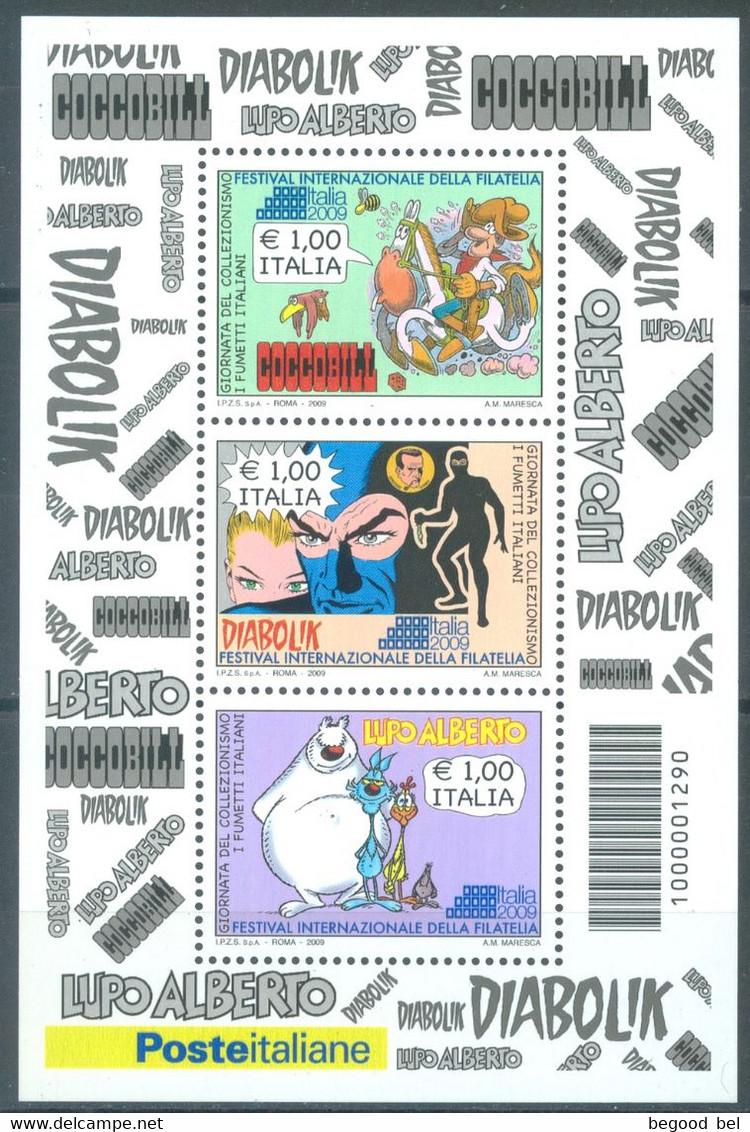 ITALIA - 2009 -  MNH/*** LUXE - COMICS COCCOBILL DIAABOLIK LUPO ALBERTO - Sa FOGLIETTO 52  Yv BLOC 50 - Lot 23326 - Blokken & Velletjes