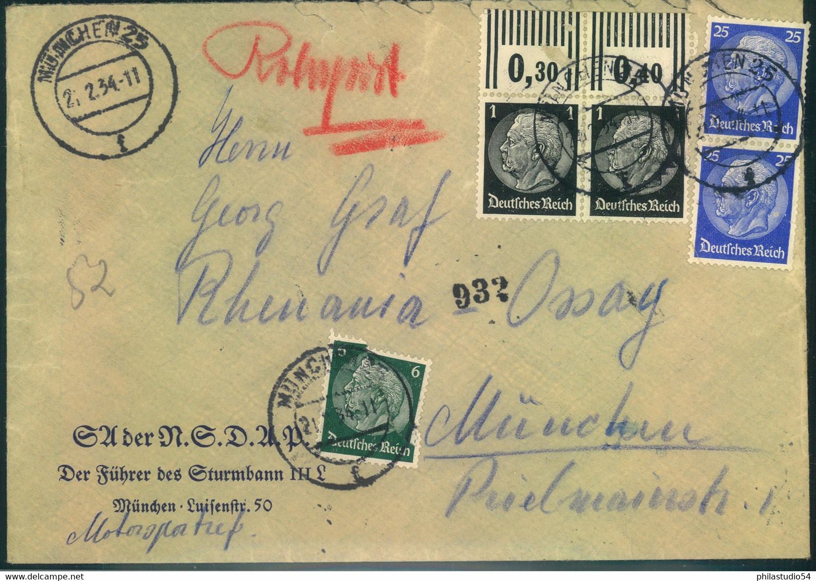 "1934, Orts-Rohrpostbrief MÜNCHEN 25, Absender ""SA Der NSDAP - Führer Des Sturmbanns III L"" - Covers"