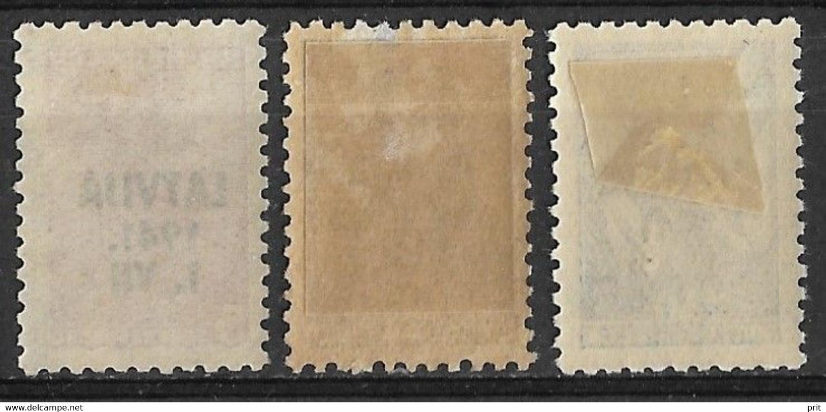 Latvia, German Occupation 1941, 5,10 & 30 Kop. Michel 1,2,5. MH - Bezetting 1938-45