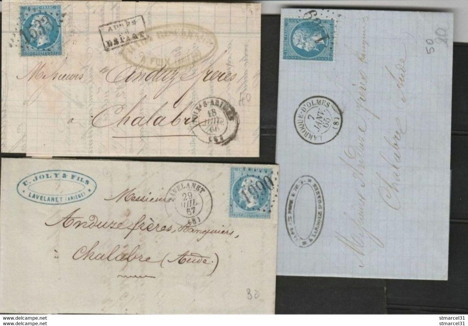 3 OBLI LGC  De L' ARIEGE, Foix, Lavelanet, Laroque D'Holmes TBE - 1862 Napoleon III