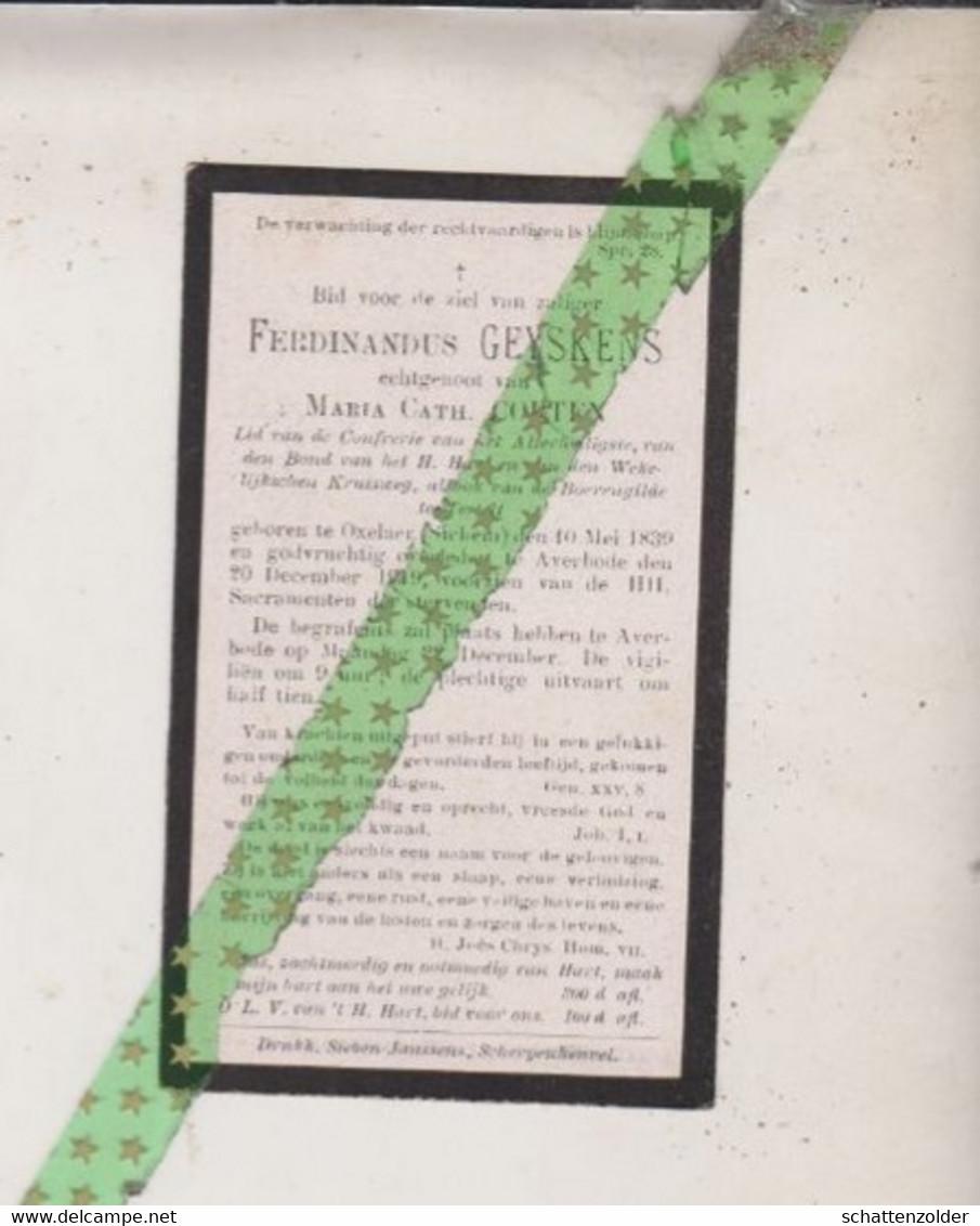 Ferdinandus Geyskens-Corten, Oxelaer (Sichem) 1839, Averbode 1919 - Todesanzeige