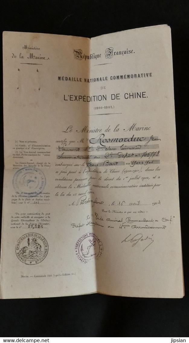 Diplôme Médaille Nationale Commémorative L' Expédition De Chine 1900/01 Marin Embarqué Sur Jean Bart Ministère Marine - Documents