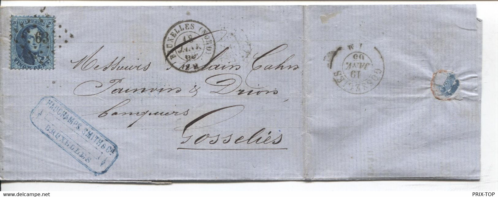 REF3398/ TP 15 S/LAC Hauchamps, Smith & Cie C.BXL (Nord) 1865 LOS PTS 63 > Gosselies C.d'arrivée - Postmarks - Points