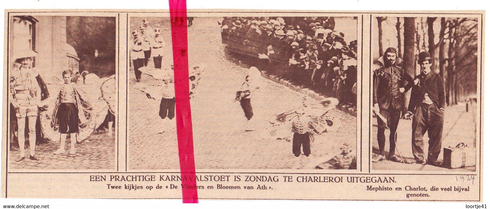 Orig. Knipsel Coupure Tijdschrift Magazine - Charleroi - Carnaval Cortège , Stoet - 1924 - Zonder Classificatie