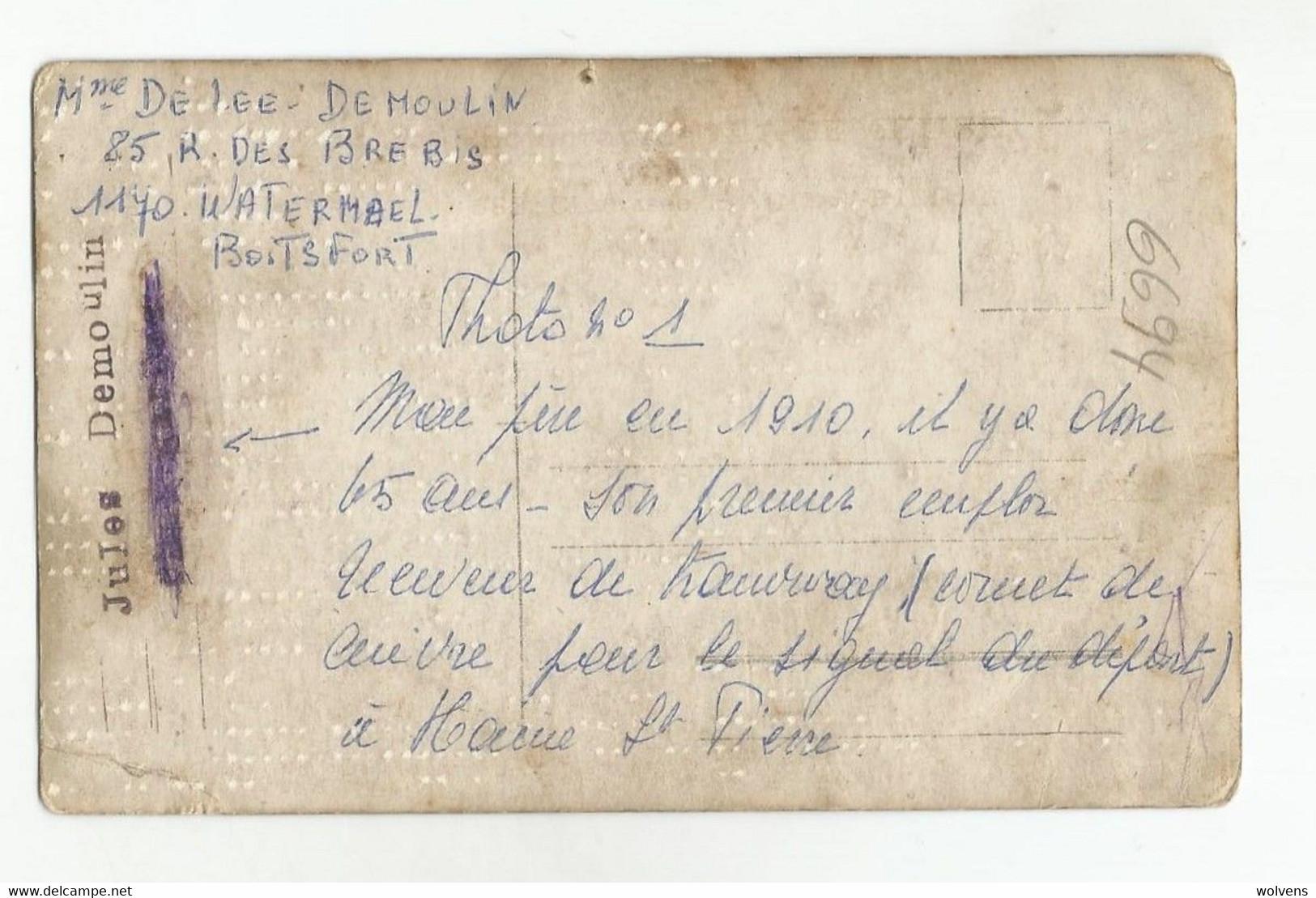 Haine-Saint-Pierre Tram à Vapeur Avec Conducteur, Receveur Et Passagers CPA Photo 1910 - La Louvière