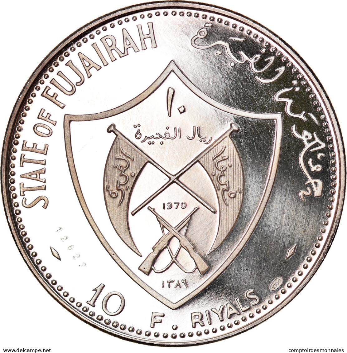 Monnaie, FUJAIRAH, Muhammad Bin Hamad Al-Sharqi, 10 Riyals, 1970, FDC, Argent - Fujairah