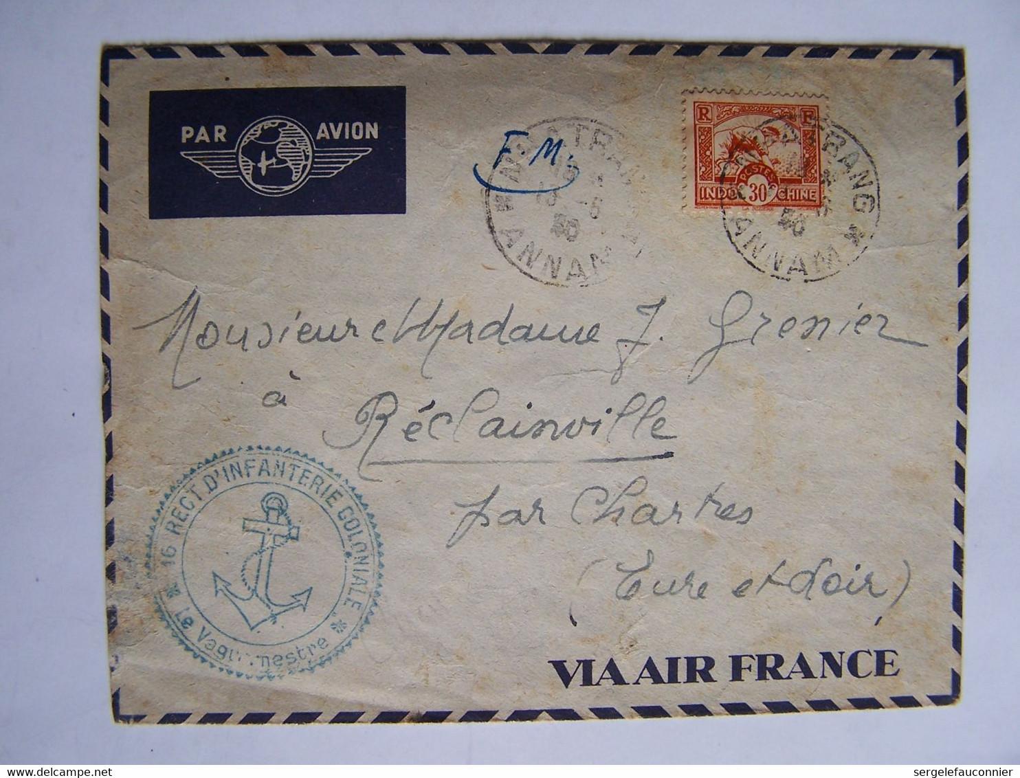 FRANCE 1940 FM INDOCHINE NATHRANG Vers CHARTRES AVEC CACHET DU 16iéme REGT D'INFANTERIE COLONIALE - Usati