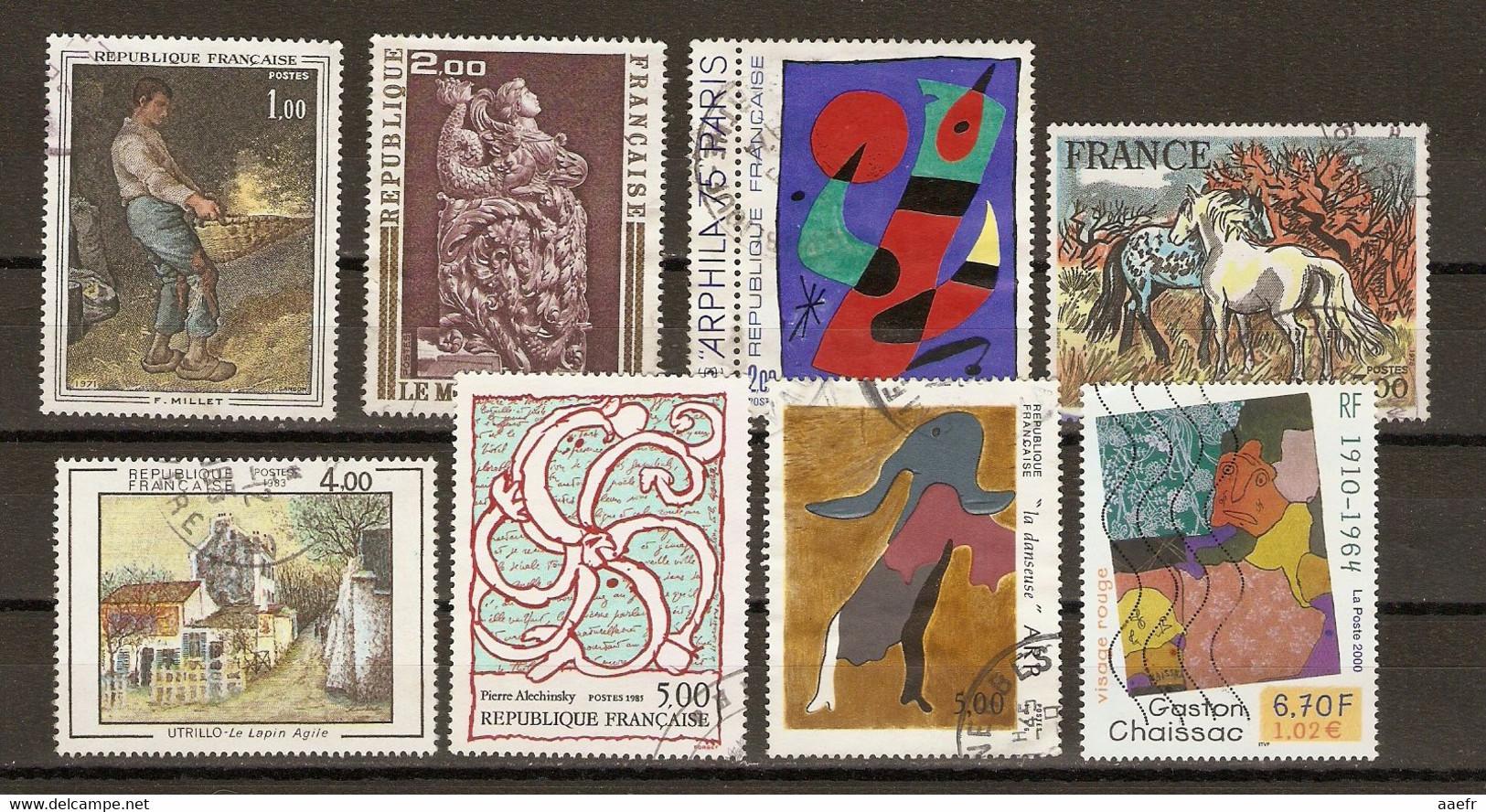 France - Tableaux - Petit Lot De 8° - Utrillo - Alechinsky - Chaissac- Arp - Millet - Miro - Brayer - Moutier D'Ahun - Kilowaar (max. 999 Zegels)