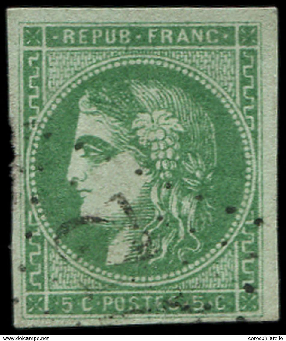 EMISSION DE BORDEAUX - 42Bb  5c. Vert-EMERAUDE FONCE, R II, Obl. GC, TB. C - 1870 Uitgave Van Bordeaux