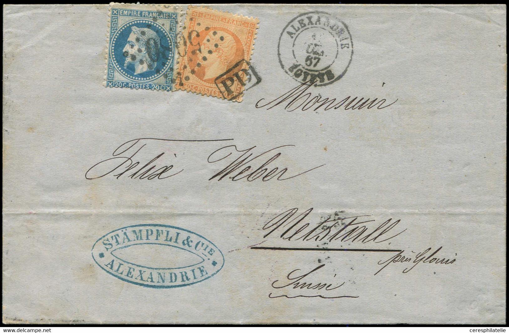 Let BUREAUX FRANCAIS A L'ETRANGER - N°22 Et 23 Obl. GC 5080 S. LSC, Càd ALEXANDRIE (19)/7/67, Pour La SUISSE, TB - 1849-1876: Klassieke Periode