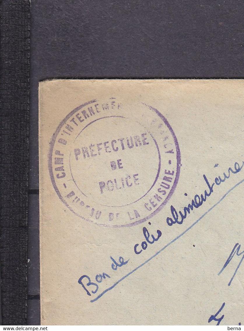 FRANCE PETAIN 1942 ENVELOPPE CENSURE CAMP DE DRANCY RARE - WW II