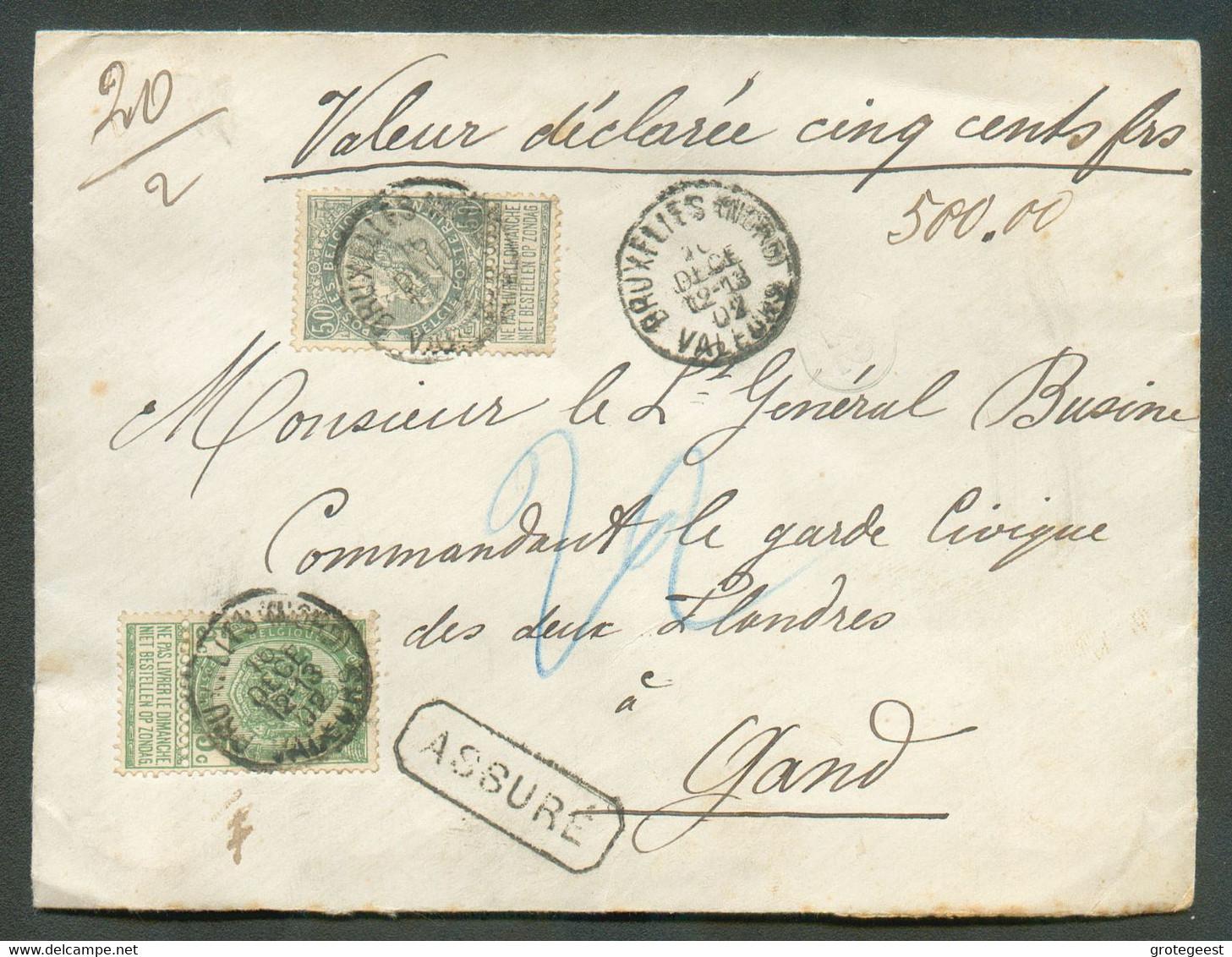 5 Et 50 Centimes FINES BARBES Obl. Sc BRUXELLES (NORD) VALEURS Sur Lettre ASSURE (valeur 500 Francs) En Double Port (20g - 1893-1900 Schmaler Bart