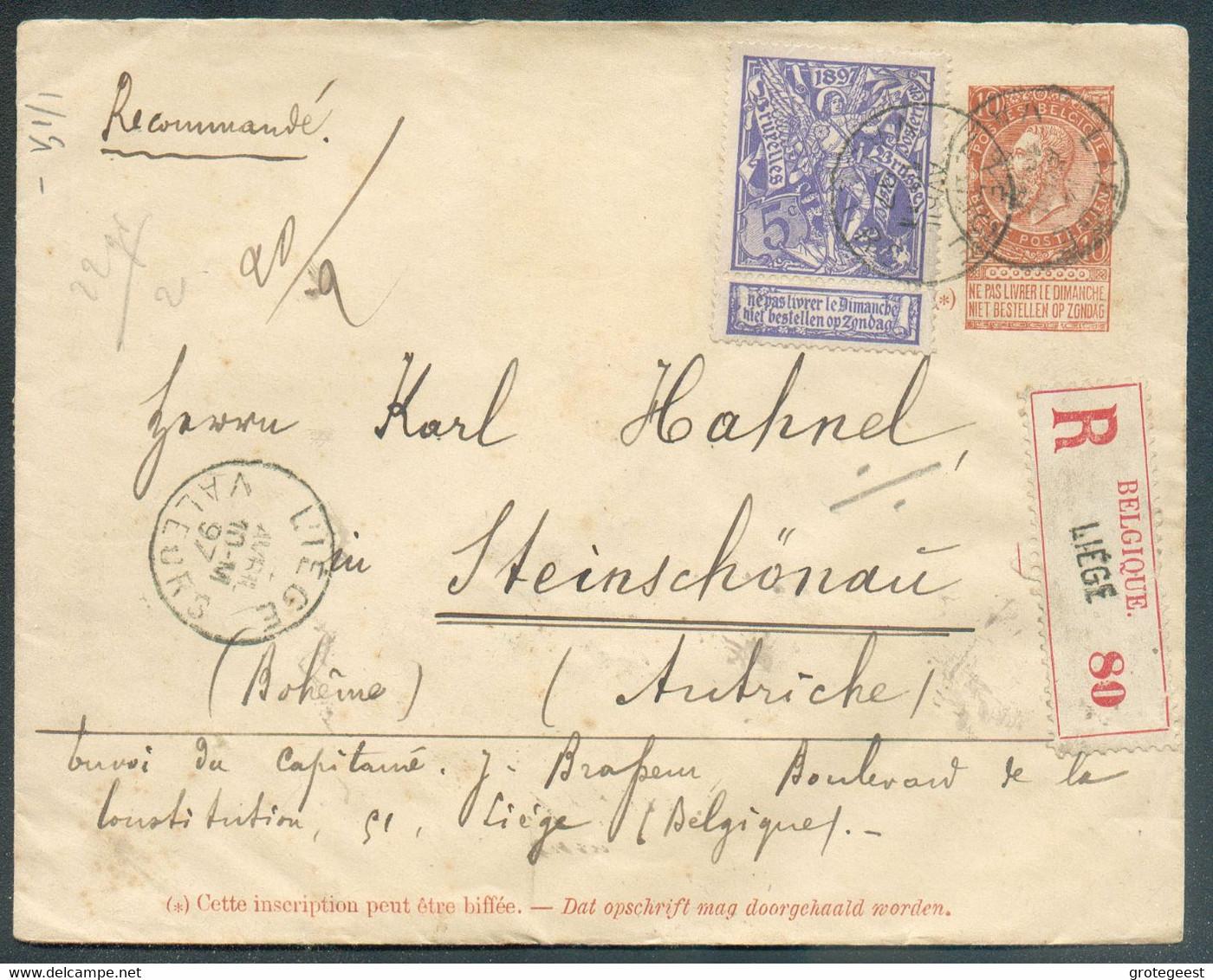 E.P. 10 Cent. Fine Barbe + Tp (dont 9 X Le 5 Centimes EXPOSITION De BRUXELLES) Obl. Sc LIEGE En Recommandé (double Port - 1894-1896 Ausstellungen