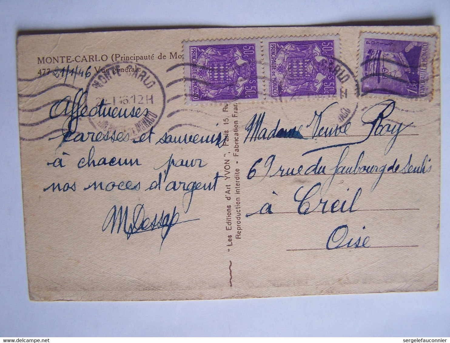 MONACO 21/1/1946 MONTE-CARLO Vers CREIL - Usati