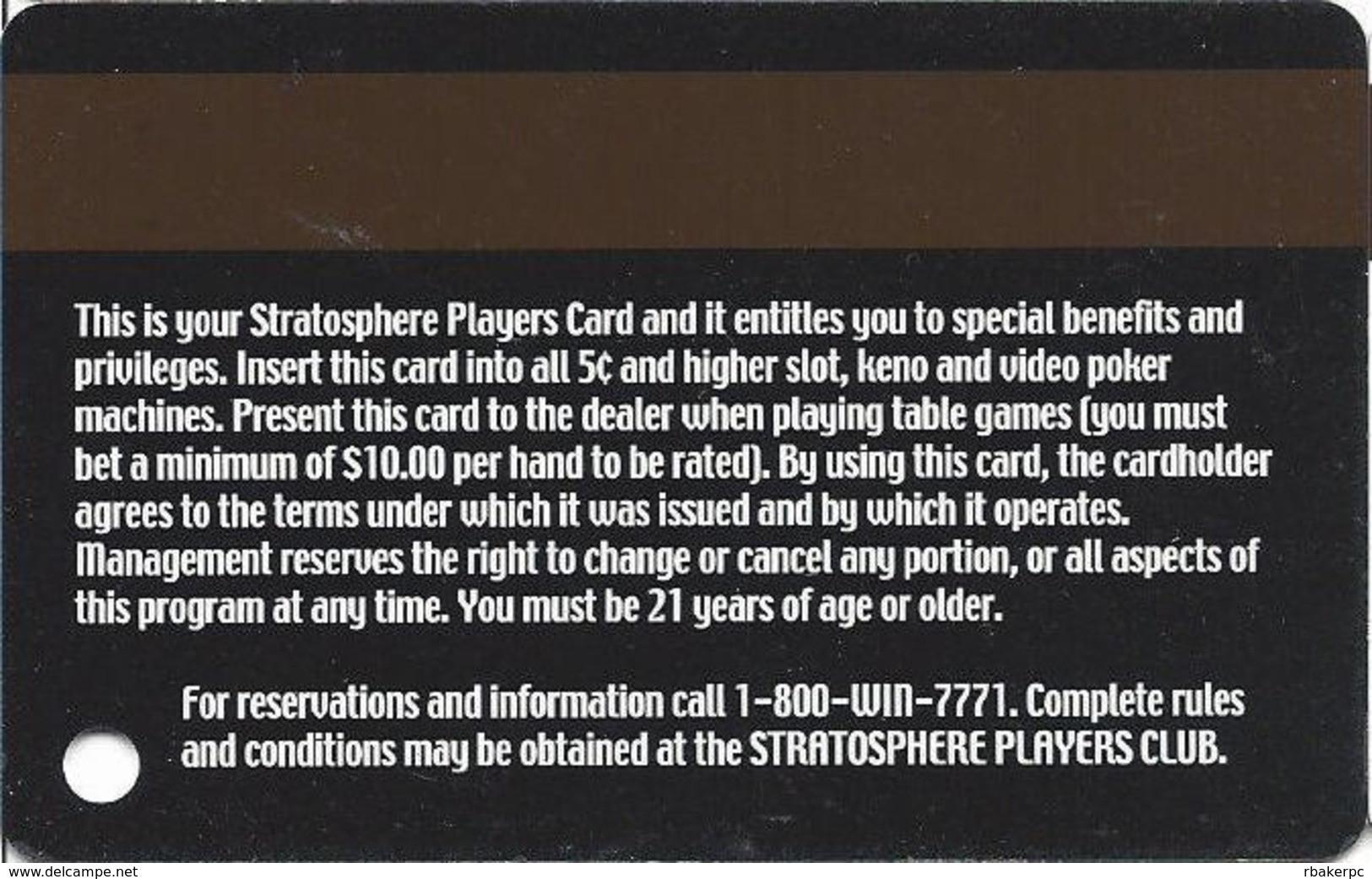 Stratosphere Casino - Las Vegas NV -  Slot Card - Casino Cards