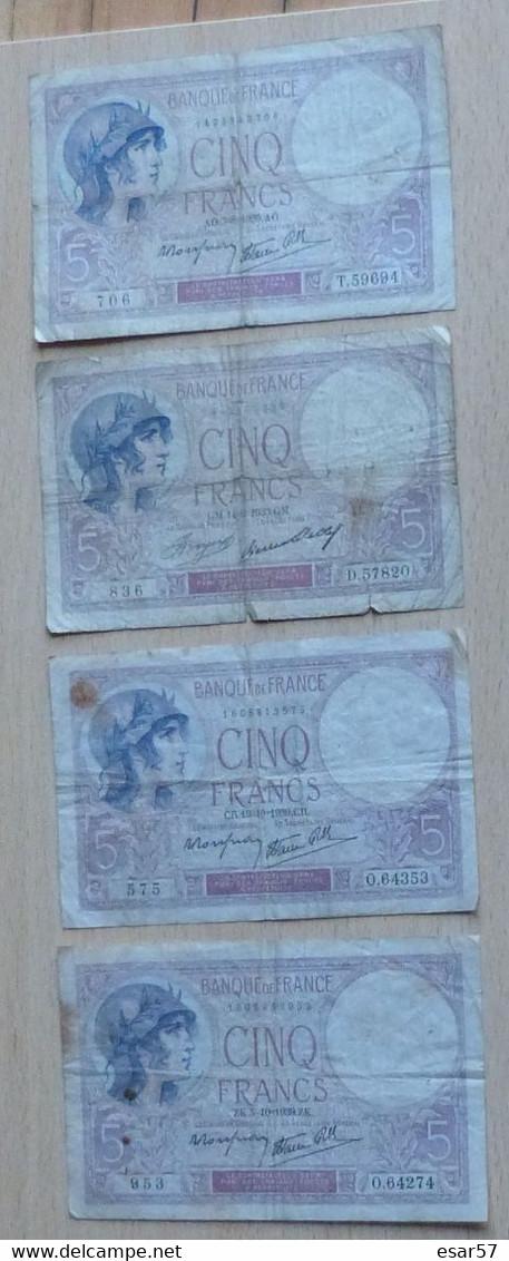 Lot De 4 Billets De 5 Francs Violet - 5 F 1917-1940 ''Violet''