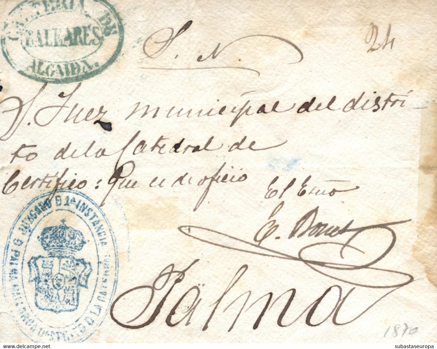 """1870. Carta De Algaida A Palma, El Año 1870. Marca """"Cartería De Algaida"""". Muy Bonita. Ex. Col. Graus. - Cartas"""