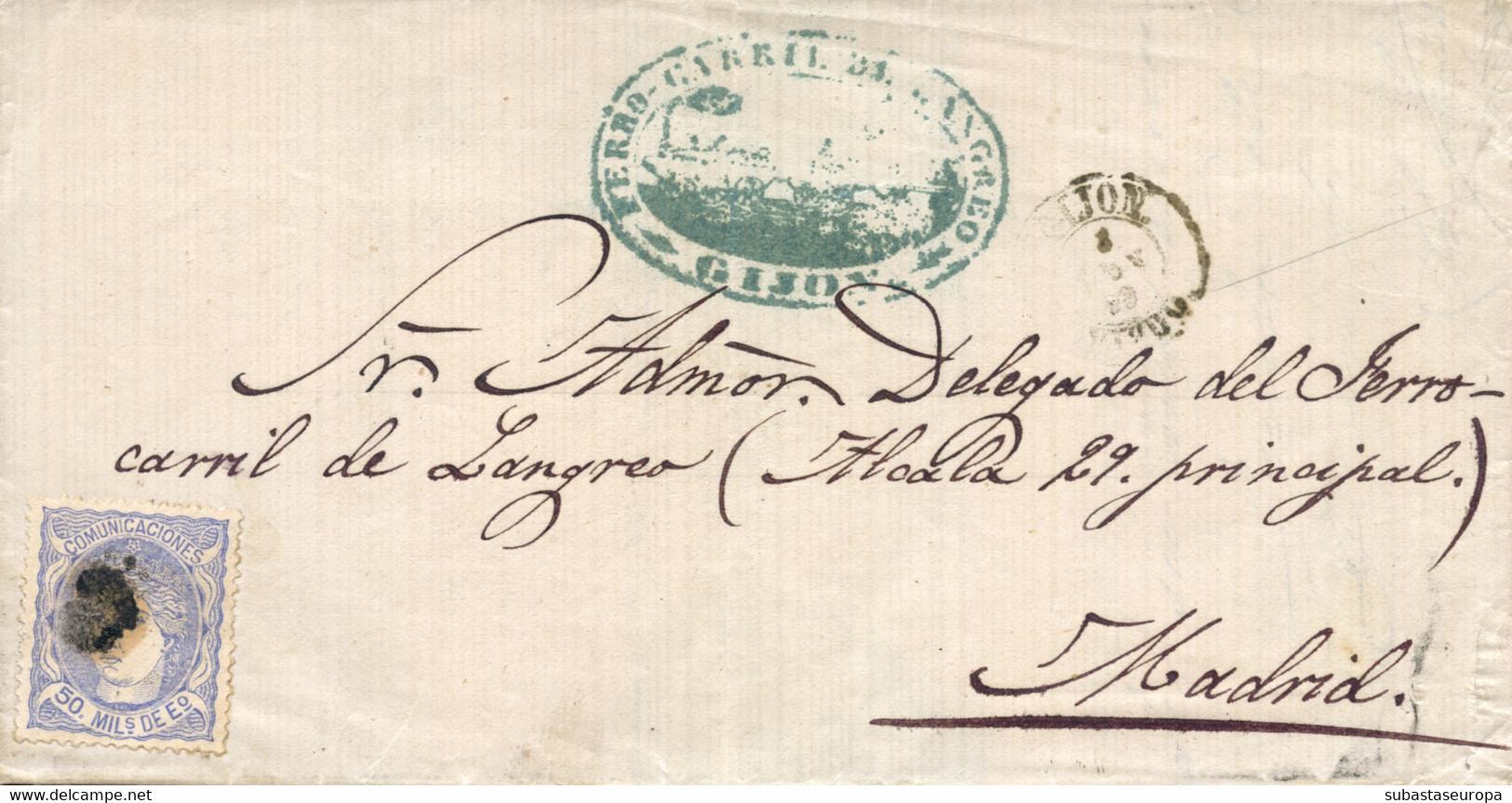 Ø 107 En Carta De Gijón A Madrid. Marca De Ferrocarril De Langreo. Muy Bonita. - Cartas