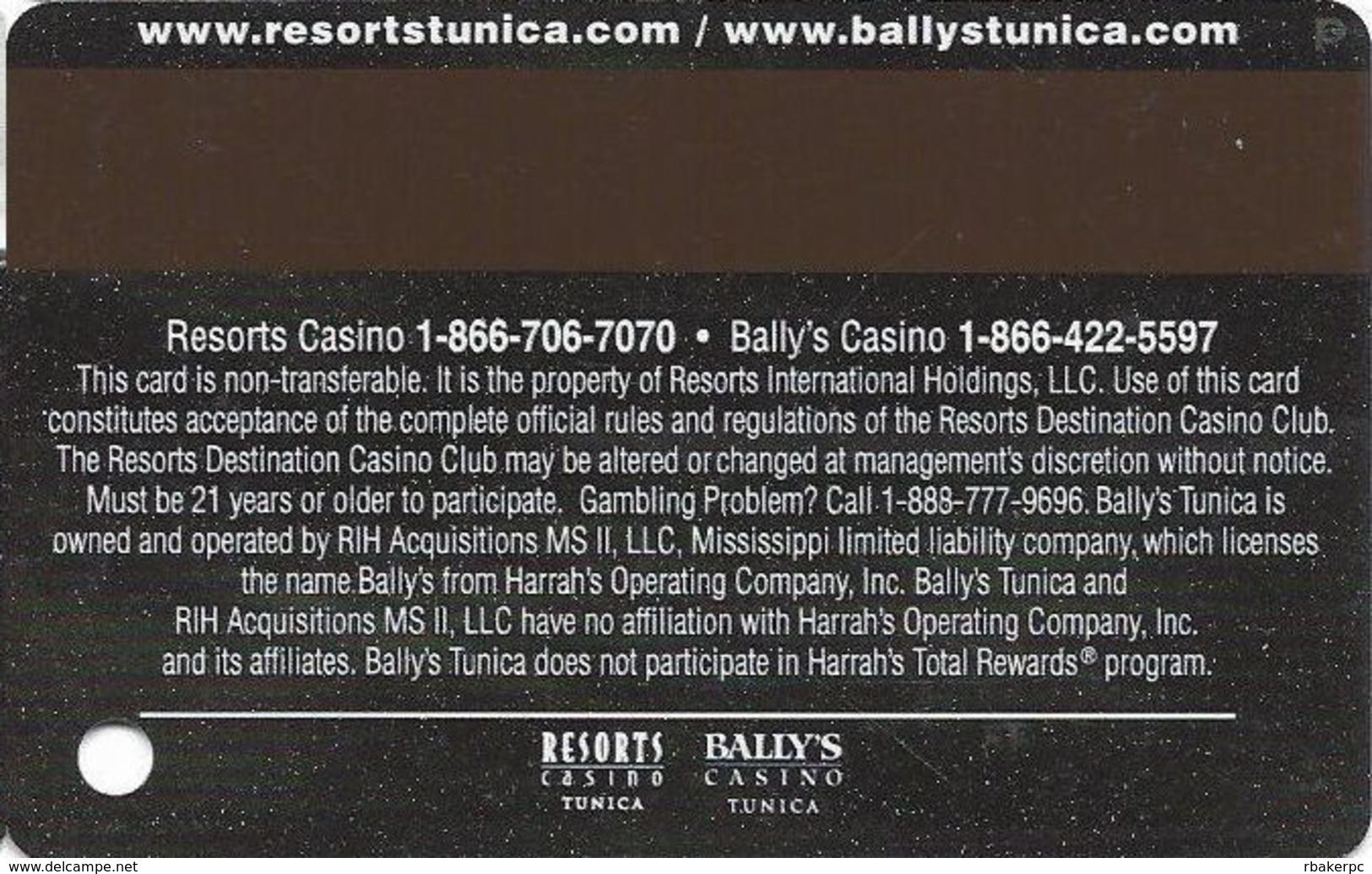 Resorts & Bally's Casinos - Tunica, MS - Slot Card - 2 Logos On Reverse - Casino Cards