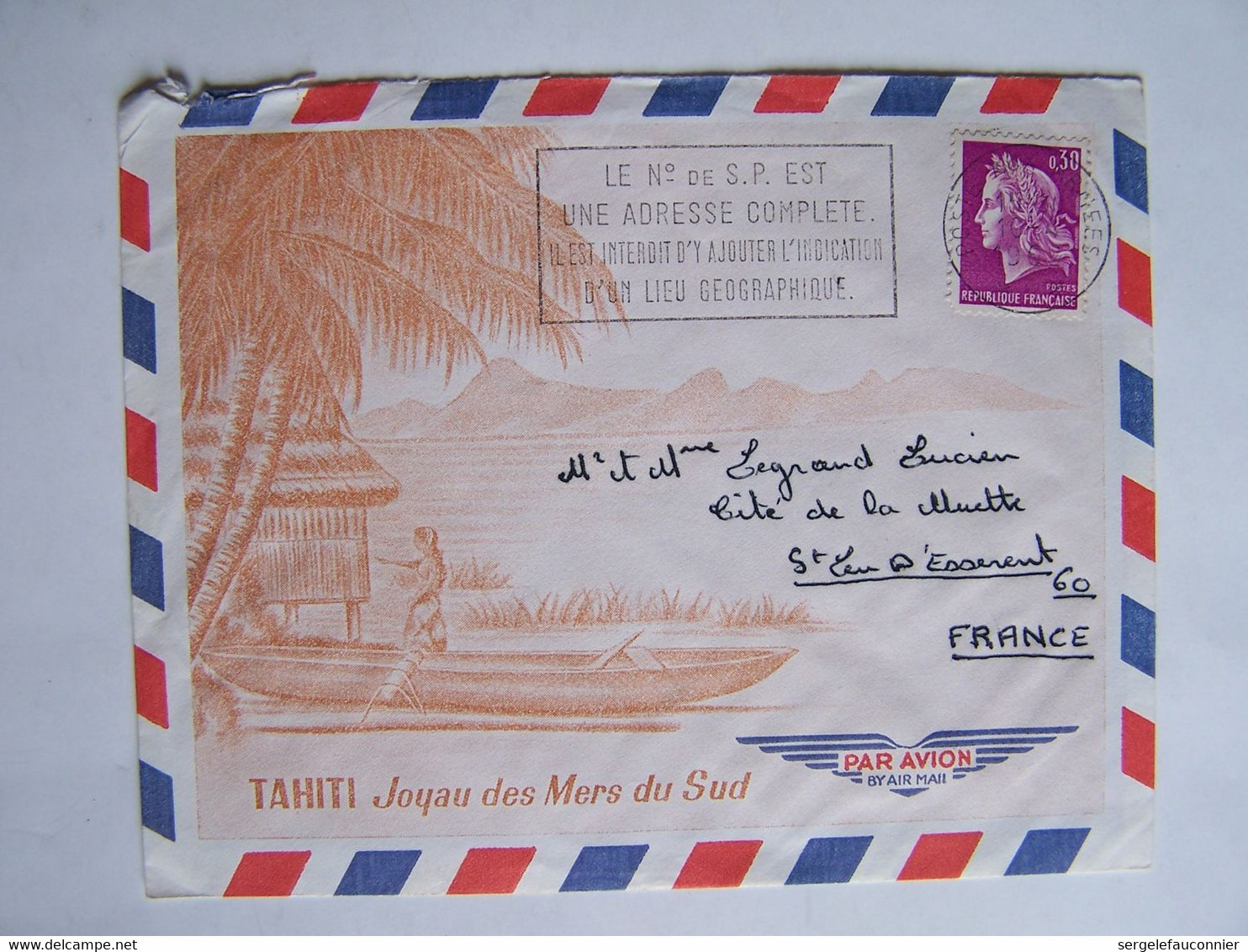 FRANCE TAHITI 10-4-1968  Vers SAINT LEU D'ESSERENT POSTE AUX ARMEES FLAMME Le N° De S.P. - Usati