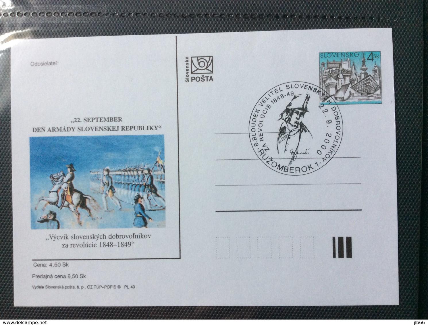 Slovaquie 2000 CDV 50 Journée De L'armée Révolution 1848 1849 - Postcards