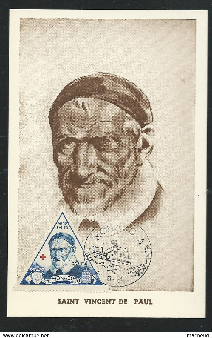 Monaco Carte Maximum St Vincent De Paul , Yvert N 353  - 4/6/1951   -AA17003 - Maximum Cards