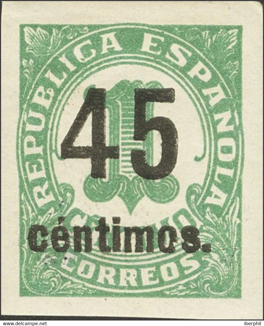 *742s, 742shcc, 742shcca. 1938. Conjunto De Tres Sellos Del 45 Cts Sobre 1 Cts Verde Sin Dentar, Con Los Tres Colores De - Unclassified
