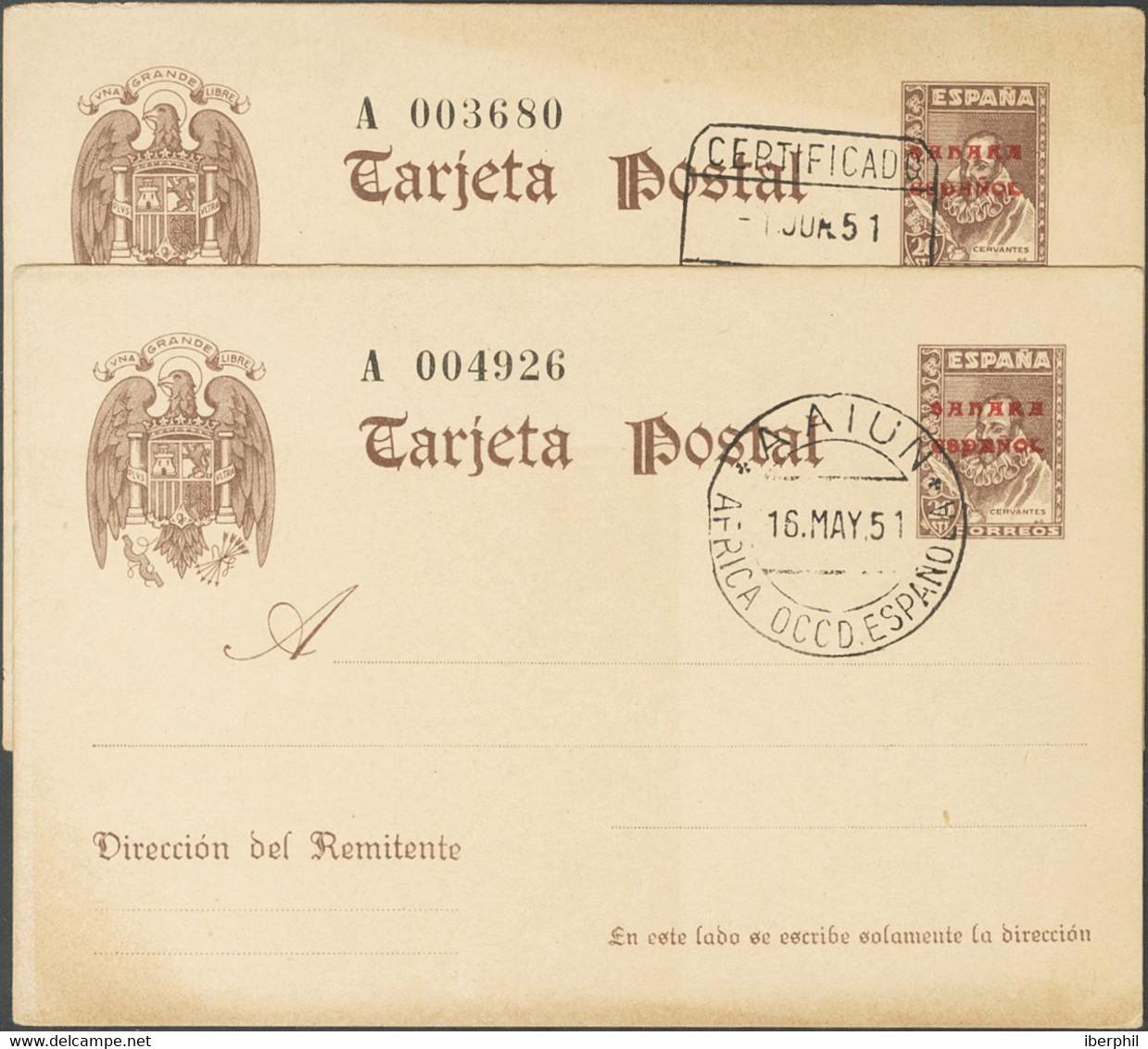 ºEP1(2). 1951. 25 Cts Sobre Tarjeta Entero Postal, Dos Tarjetas, Inutilizadas Con Los Matasellos (de Favor) CERTIFICADO  - Unclassified